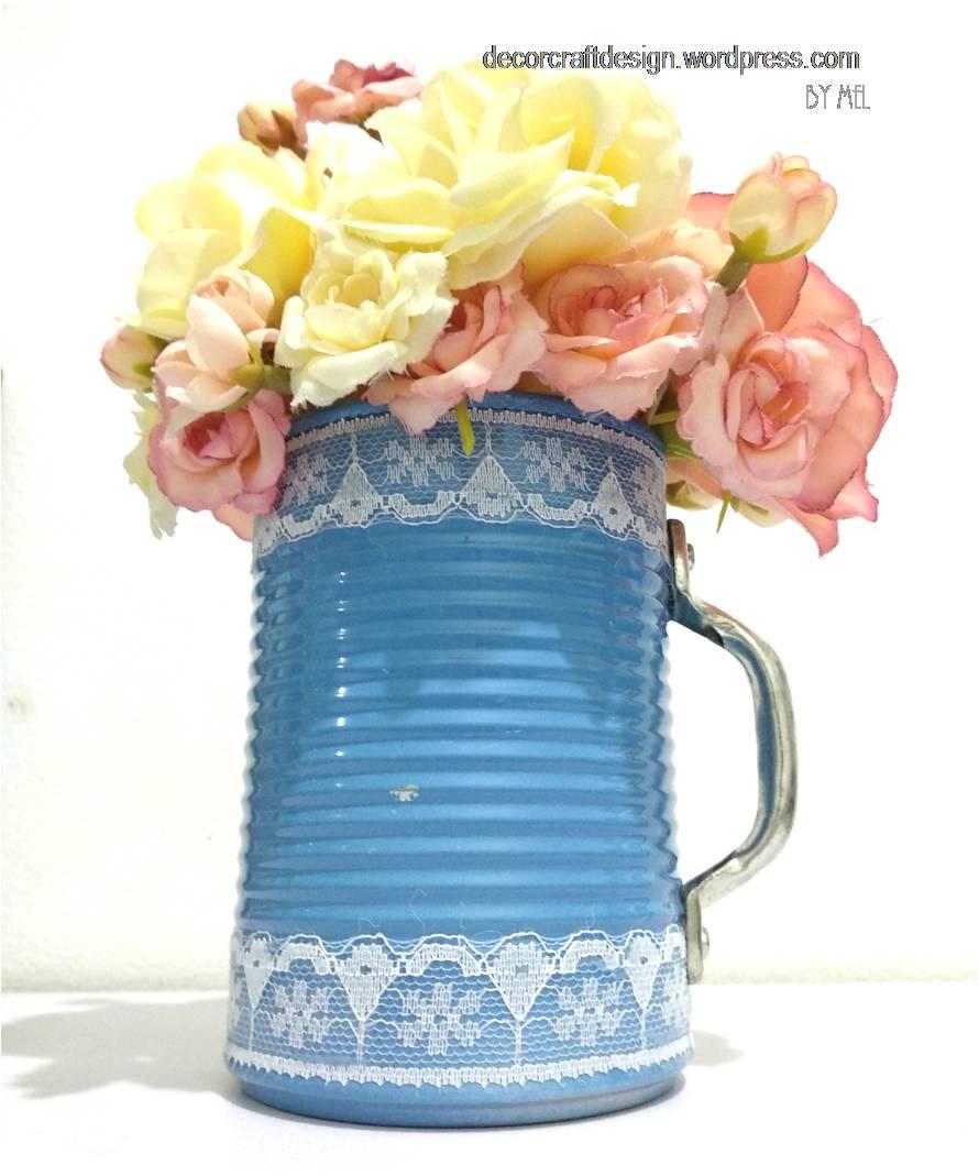 246 & DIY Spring Lace Tin Can Mug Flower Vase \u2013 Decor Craft Design