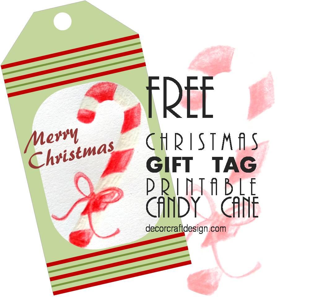 Free Christmas Gift Tag Printable Candy Cane Decor Craft Design