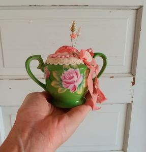 Upcycled Sugar Bowl Pincushion