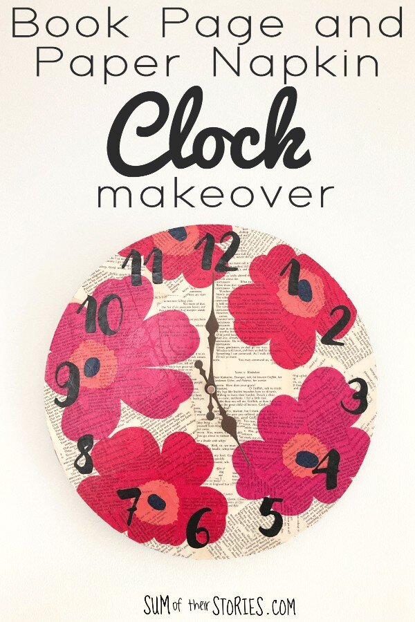 An old clock given a makeover with old book pages and vibrant paper napkin flowers